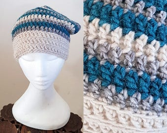 THE SLOUCH Handmade Boho Alpaca Wool Blend Crochet Knit Beanie Slouchy Hippy Indie Hat Cream Blue & Grey Stripes