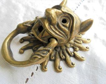 Vintage Face Door Knocker Drawer Pull,Gothic Gargoyle Demon Devil Snakes,Antique Brass Door Knocker,Salvage Metal Hardware Supply