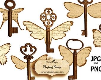 digital collage sheet printable download flying keys grunge shabby aged scrapbook and craft image ephemera for instant download