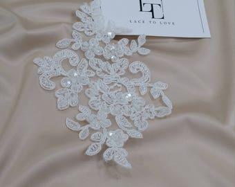 Ivory Lace applique, Beaded lace applique, French Chantilly lace applique, 3D lace, bridal lace applique, M0024