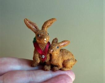 Original OOAK Miniature Hand flocked Bunnies with basket of carrots~ reborn by N Woolmer