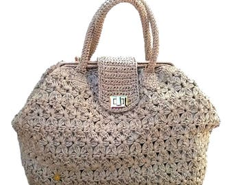 Handbag//Doctor bag//raffia crochet bag sand//////crochet bag Made in Italy