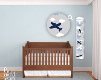 Growth Chart for Boys - Kids Room Wall Decor - Blue Airplanes Custom Wall Hanging - Children's Personalized Growth Chart - Kid Plane Bedroom