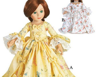 """Marie Antoinette Dress Pattern in two 18"""" Dolls Sizes: for Slim Carpatina dolls and for the larger American Girl Dolls"""