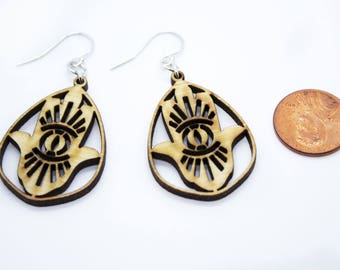 Earrings Hamsa with evil eye design, Wooden jewelry for women, Medium to large sized boho dangles, Gift for spiritual or yoga friend