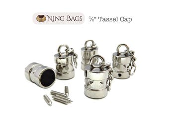 Set of 5 // Tassel Cap, Handbag Accessory,  Hanging Tassel Cap for Bags, Purses, Totes / Bag Hardware in Nickel Finish