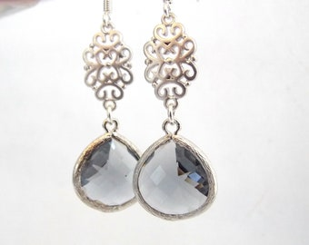 Gray Earrings, Glass Earrings, Grey Earrings, Silver Earrings, Charcoal, Oriental, Wedding Jewelry, Bridesmaid Earrings, Bridesmaid Gifts