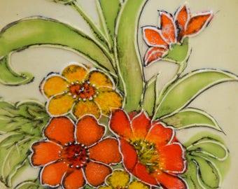 American, Vee Jackson, Vapour Storage,  Ashtray, USA Pottery 1970s, Large Colourful Nasturtium Flowers Ashtray, Vintage Ceramic Ashtray,