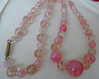 Pink glass long vintage necklace