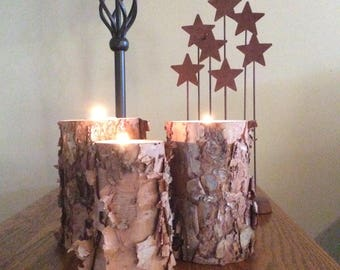 River Birch Candle Holders,Tree,Log,Natural,Primitive,Rustic
