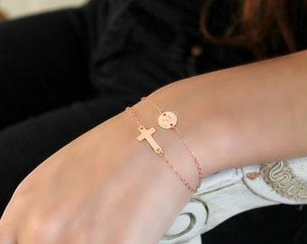 All 14k Rose Gold filled Wrap Bracelet, layered sideways Cross & personalized initial disc custom stamped monogram, bridesmaids, pink gold