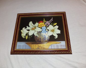 Flower Vase with lillies and other flowers Beauiful floral print framed Ready to Hang