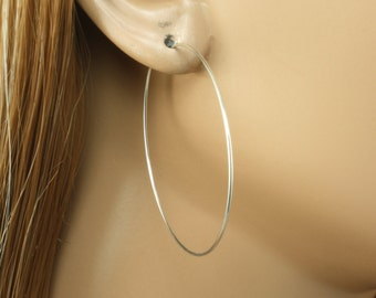 "Silver Hoop Earrings - 1-3/4"" (44mm) Pair of Hoop Earrings - Sterling Silver Hoop Earrings - Thin Hoop Earrings"