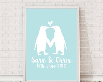 Personalised Penguins In Love A4 Print / Poster Print / Feature / Gallery Wall Art