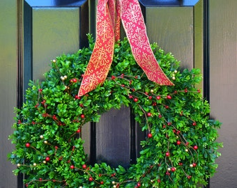 Holiday Wreath- Boxwood Wreaths with Red and Gold Berries Christmas Wreath- Ready to Ship- Winter Wreath- Holiday Decor- Christmas Decor