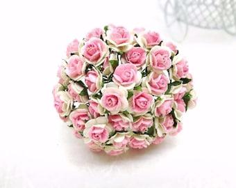 50 pcs. Rose Mulberry Paper Flower Craft Handmade Wedding 10 mm Scrapbook #822
