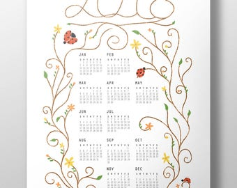 2018 Ladybug Calendar Poster, 11x17, Wall Calendar, Year-at-a-glance, Illustration, Pastel Colored Calendar