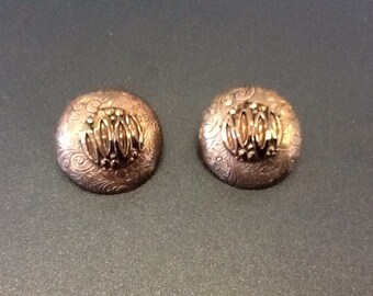 Vintage large copper button earrings. These beautiful large handmade