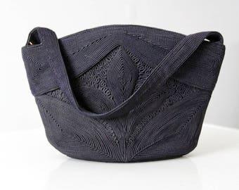 vintage Corde handbag, 1940s navy purse