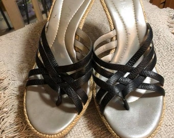 "Vintage sandals, leather Black strappy open toed ""UNISA"", size 8 1/2, pre-worn."