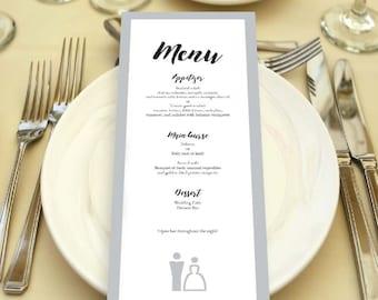 Wedding Menu - Printable Wedding Menu - Wedding Dinner Menu - Menu Template - Reception Dinner Menu - Gray and White Menu - Editable Text