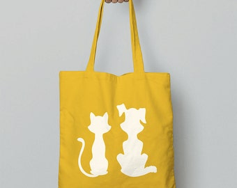 Shopping Bag / Cat And Dog Tote Bag / Canvas Bag / Shoulder Bag / Canvas Tote Bag / Christmas Gift For Girlfriend / Animal Gift Women / Cats