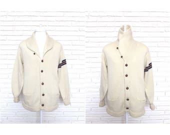 Men's Vintage Cream Knit Cardigan Sweater 1960's Button Front Varsity Rockabilly Style XL