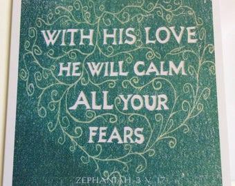 Zephaniah 3.17 | 10cm square card | Blank inside | Faith Scripture