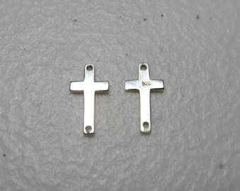 5 pcs Sterling Silver Sideways Cross Connector Link Pendant Charm 12x6mm