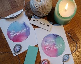 Birthday card - Happy Birthday // English or French