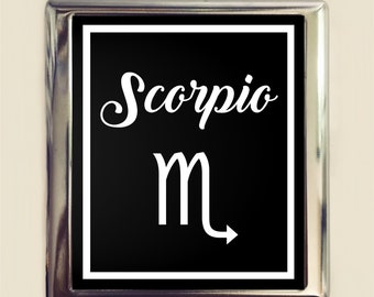 Scorpio Zodiac Sign Cigarette Case Business Card ID Holder Wallet Astrology Astrological New Age Spirituality