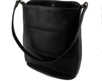 Vintage Coach Black Tribeca Leather Bucket/Hobo Bag Style No. 9083 Designer Handbag Made in USA