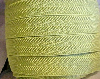 Foldover Elastic 5/8 Pastel LIME GREEN Chevron 5 yds. Headbands Hair Ties Doll Clothes
