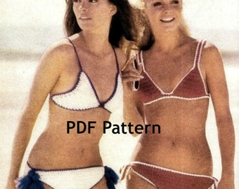 Bikini Crochet Swim Suit Vintage 2 Styles Pattern Digital Download