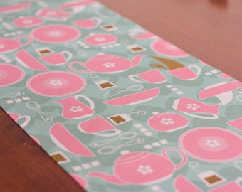 Retro Table Runner – Retro Tea Party Theme - Linen Cotton Blend – Pink, Muted Green
