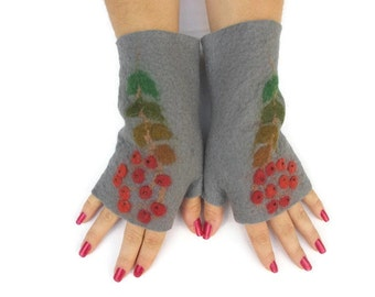 Felted Fingerless Gloves Fingerless Mittens Arm warmers Wristlets Merino Wool Gray Rowan