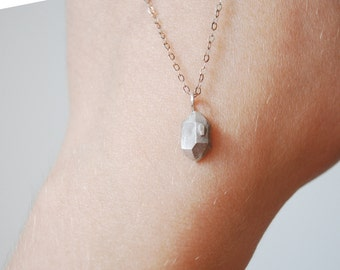 Herkimer diamond necklace sterling silver quartz necklace everyday, birthday gift for her, raw crystal necklace boho jewelry, christmas gift