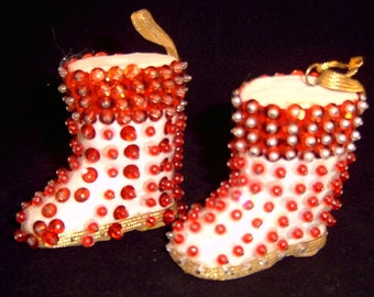 Holiday Sequined Boots Booties Christmas Xmas Decorations Ornaments
