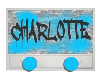 Coat rack personalized GRAFFITI TURQUOISE teen's room