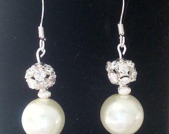Pearl & Crystal Ball Earrings