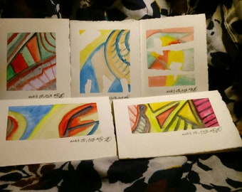 Set of 5 painted notecards with envelopes (B-2)