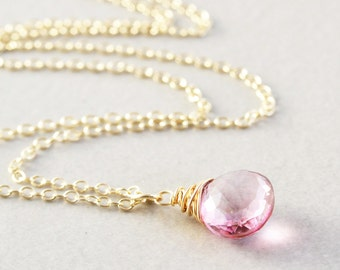 Pink Quartz Drop Necklace, Pink Stone Necklace, Bridesmaid Gift