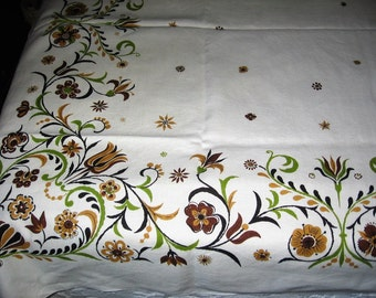 Vintage Fall Tablecloth Ecru Linen Brown Gold & Green Stylized Autumn Floral Border 50 X 68 in. Hand Laundered Dining Tablecloth Cover
