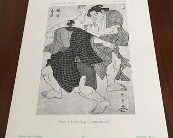 Vintage Japanese Ukiyo-e Print by Shunyei #25. Original 1923 French bookplate. Woodcut, antique, chinoiserie, authentic.