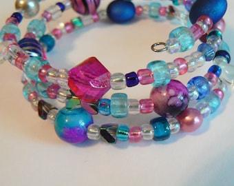 "Pink and Blue Boho Wrap Bracelet on Silver Memory Wire (2.5 inch diameter) ""Pretty Princess"""