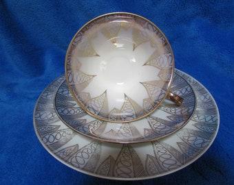 MPK Bavaria Vintage Collector Porcelain gold plated teacup, saucer and cake plate set