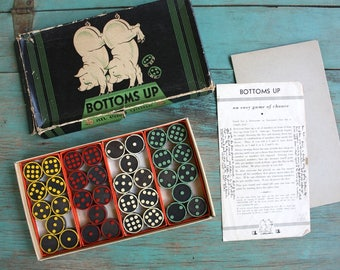 Bottoms Up Game of Chance, The Embossing Company, Vintage Game with Original Instructions, Game Night, Vintage Game Pieces