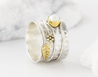 Boho Rings, Pearl Rings, Flower Rings, Statement Rings, Birthstone Rings, Thumb Rings, Boho Jewelry, Silver Rings, Gifts For Her JR121