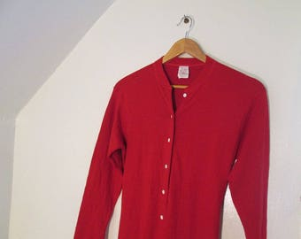 Vintage Red Cotton Longjohns 70s Red Long Johns Made in USA Cheery Red Union suit underwear for winter wear M