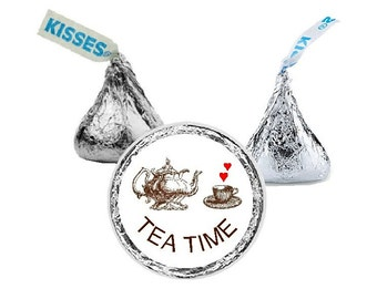 Tea Time, Hershey Kiss Stickers, Teacup, Teapot, Tea Party, Bridal Shower, Candy Stickers, Favors, Stickers, Envelope Seals, 108 Stickers